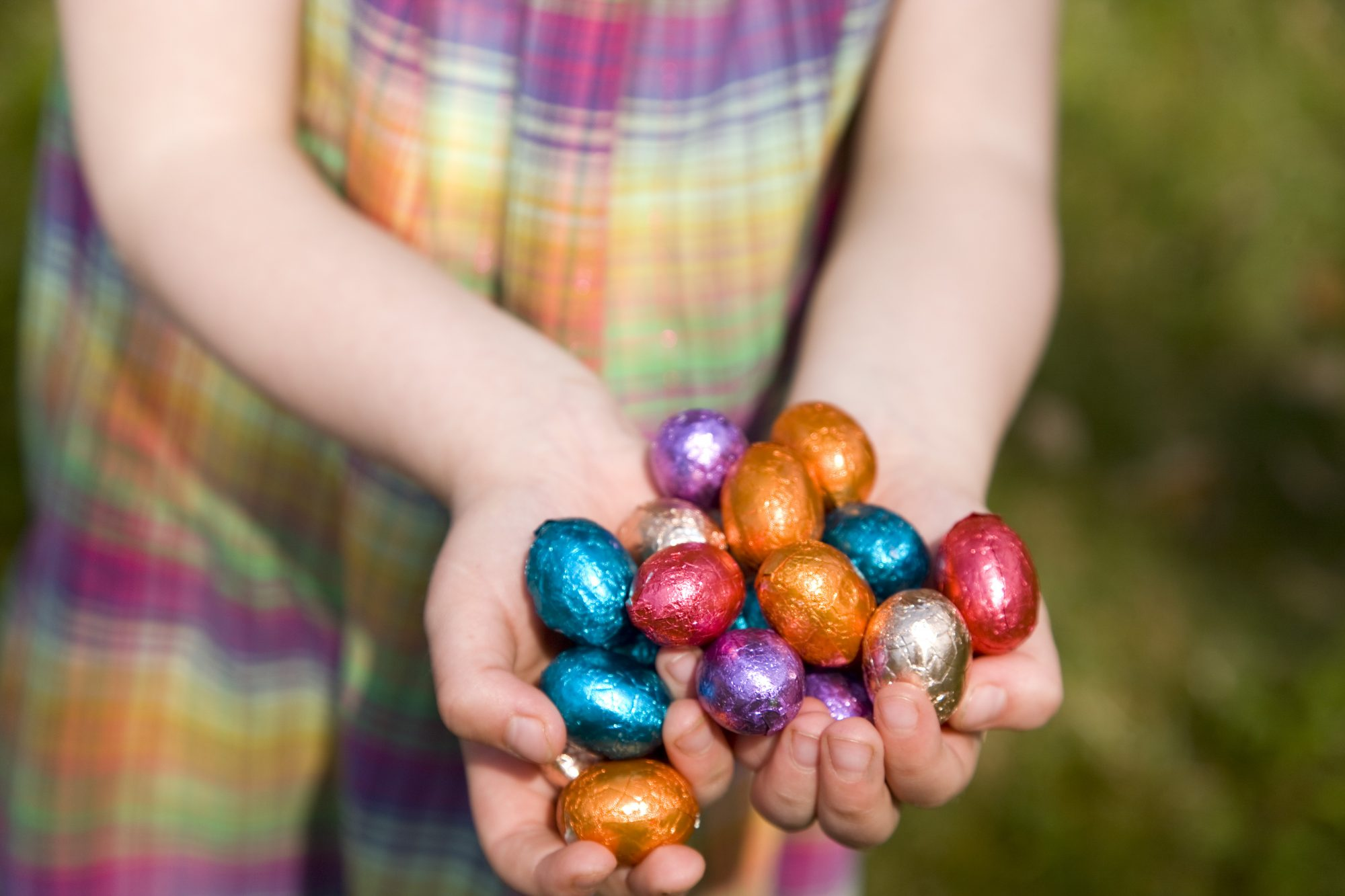 easter candy child hands