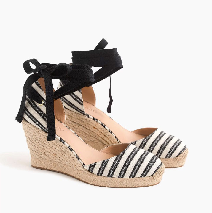 Espadrille Wedges with Ankle Wrap in Stripe