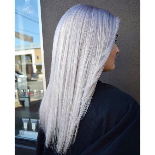 Frozen Blonde With Violet Shadow Roots