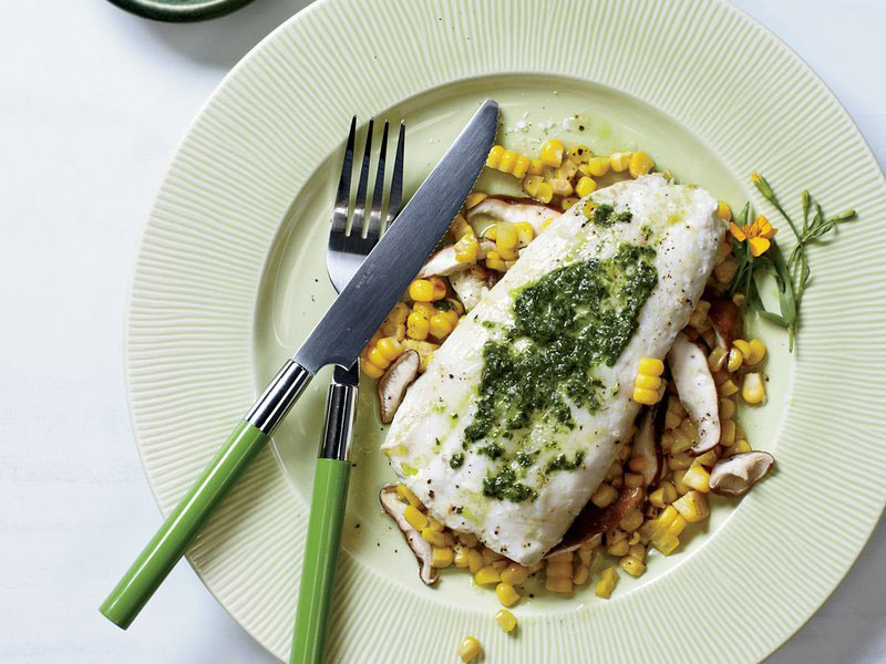 Halibut and Corn Hobo Packs with Herbed Butter