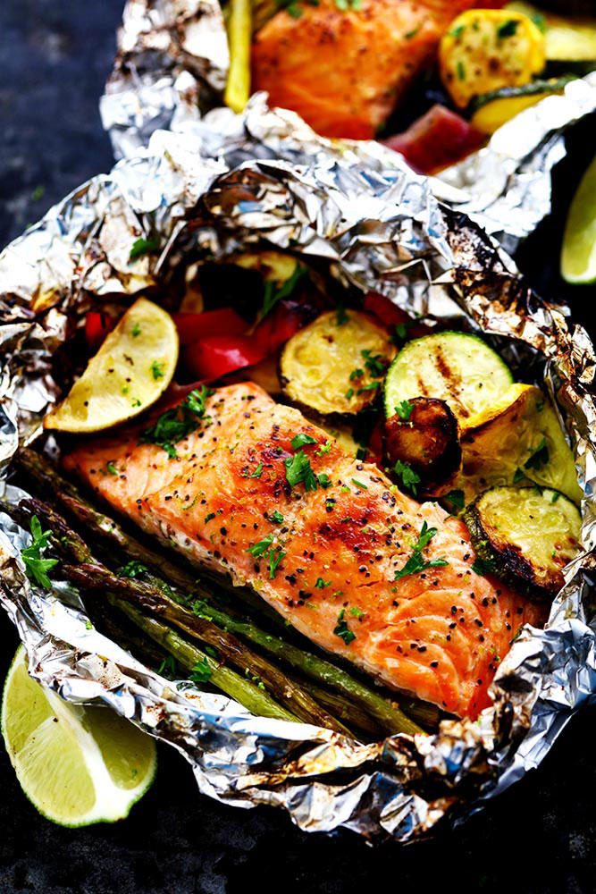 Grilled Lime Butter Salmon with Veggies Foil Packs