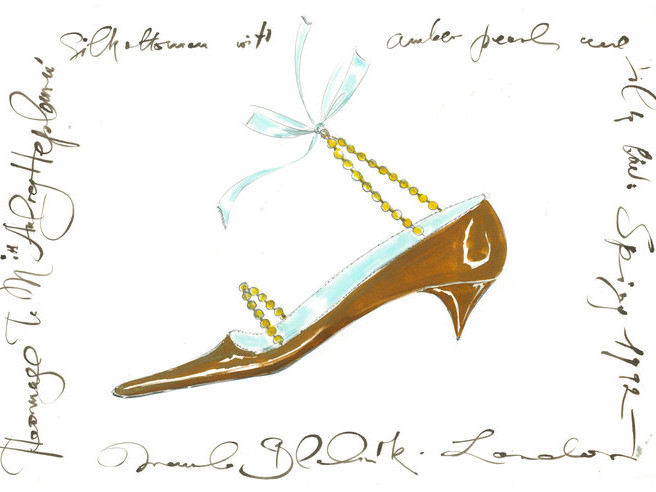 Audrey Hepburn's Granddaughter Is Venturing Into the Fashion World manolo_blahnik_illustration_audrey_shoe_image_c_o_manolo_blahnik