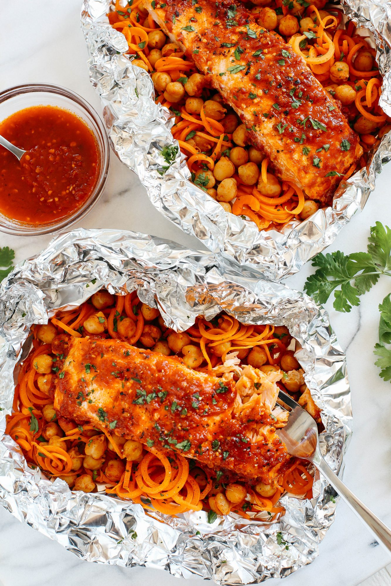 Moroccan Salmon with Carrot Noodles and Chickpeas