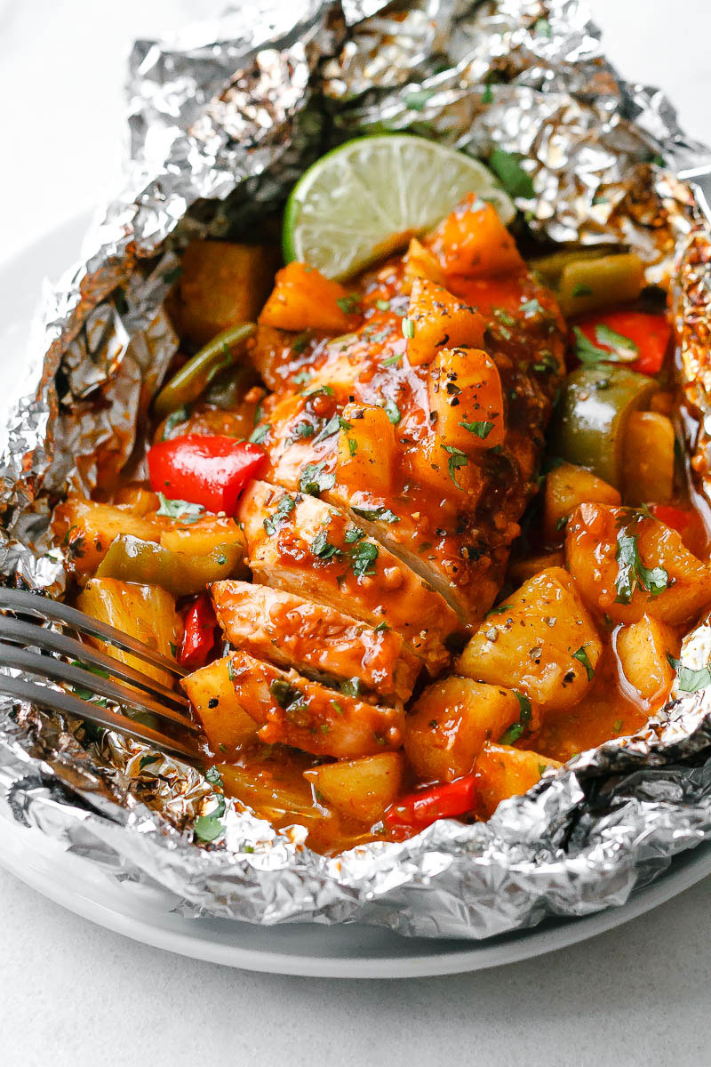 Pineapple BBQ Chicken Foil Packets