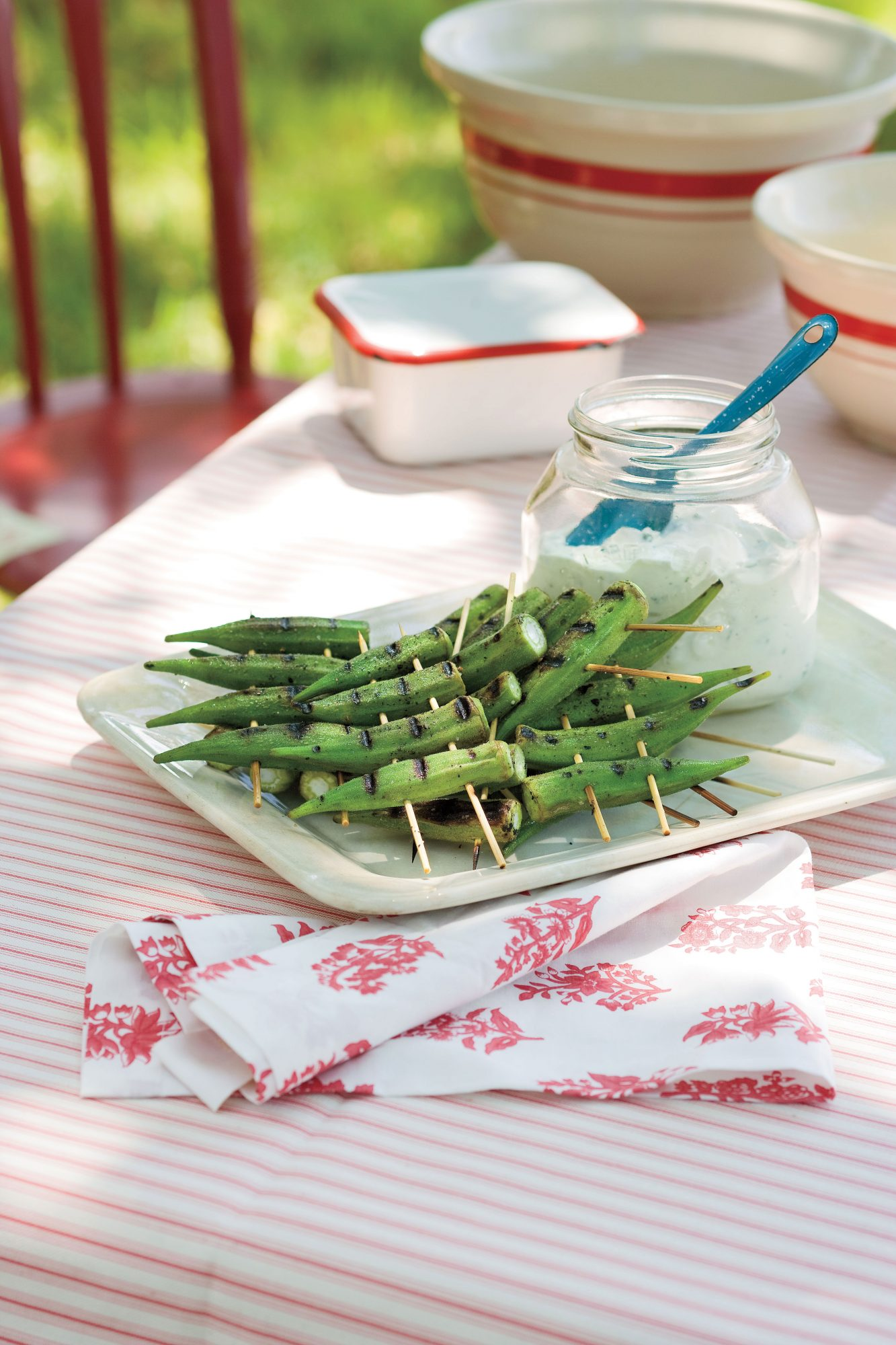Peppery Grilled Okra with Lemon-Basil Dipping Sauce