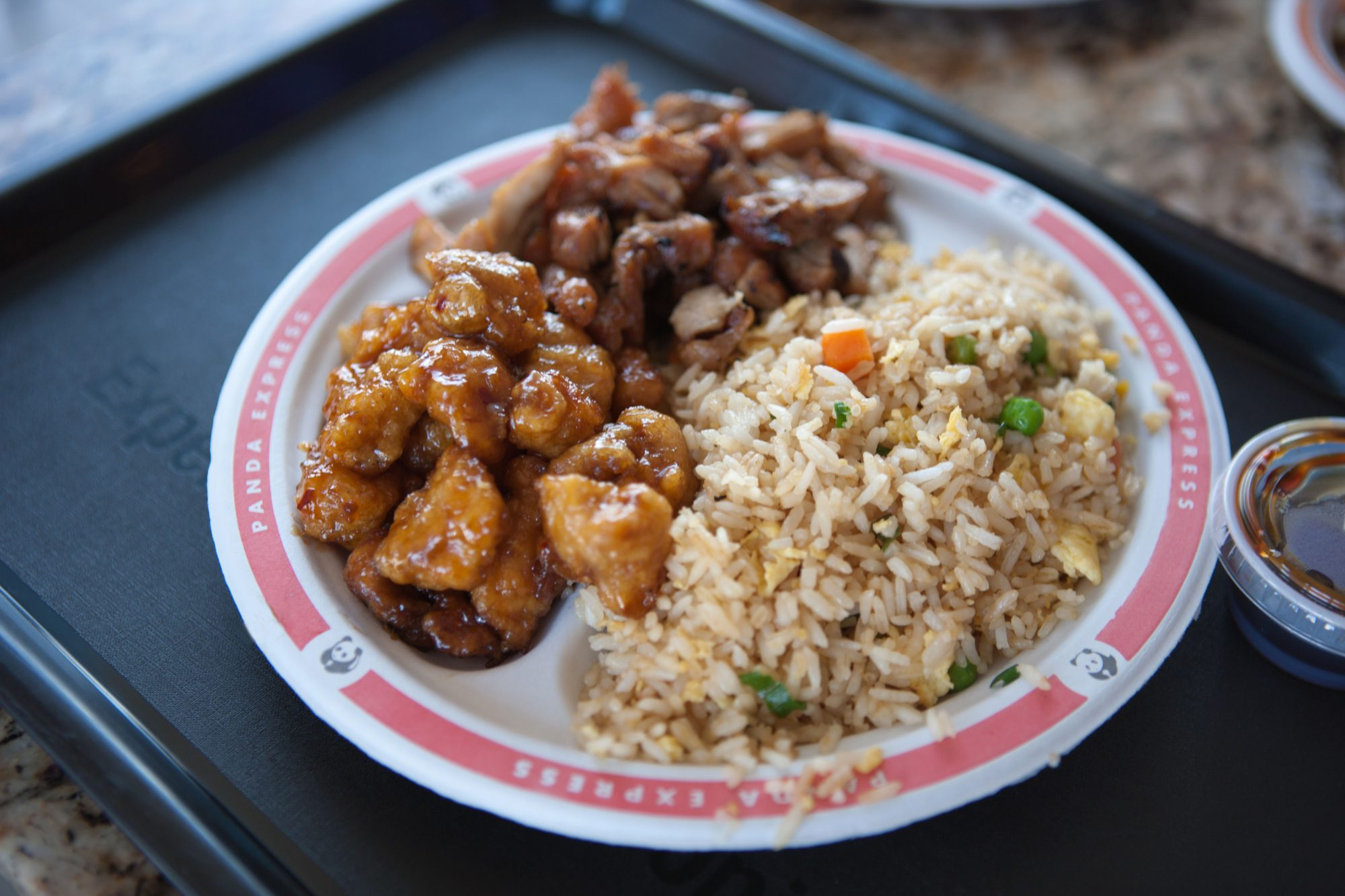 A plate of Chinese food served at the American fast food chain, Panda Express.