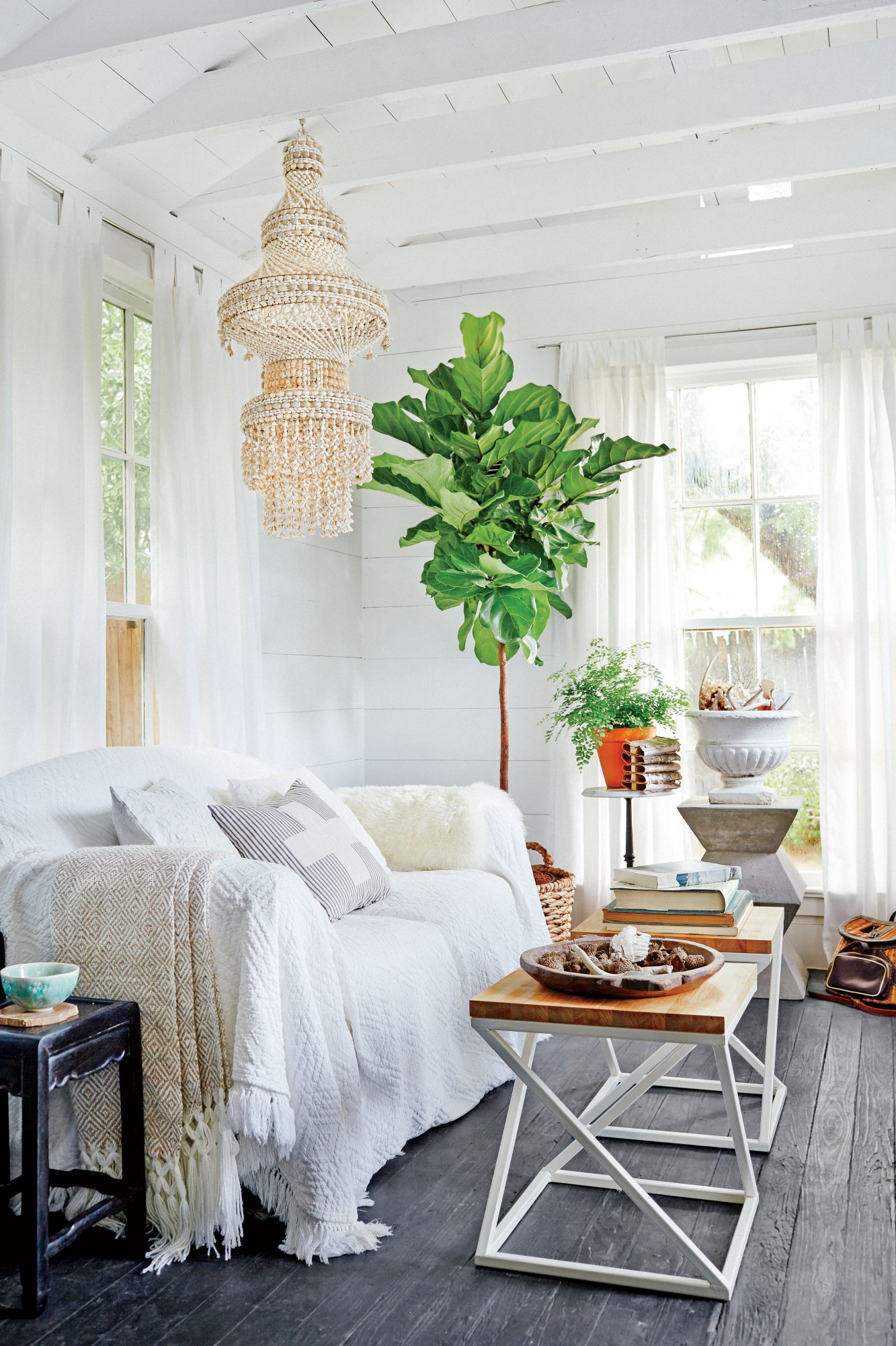 Paige Morse Black and White Bohemian Living Room