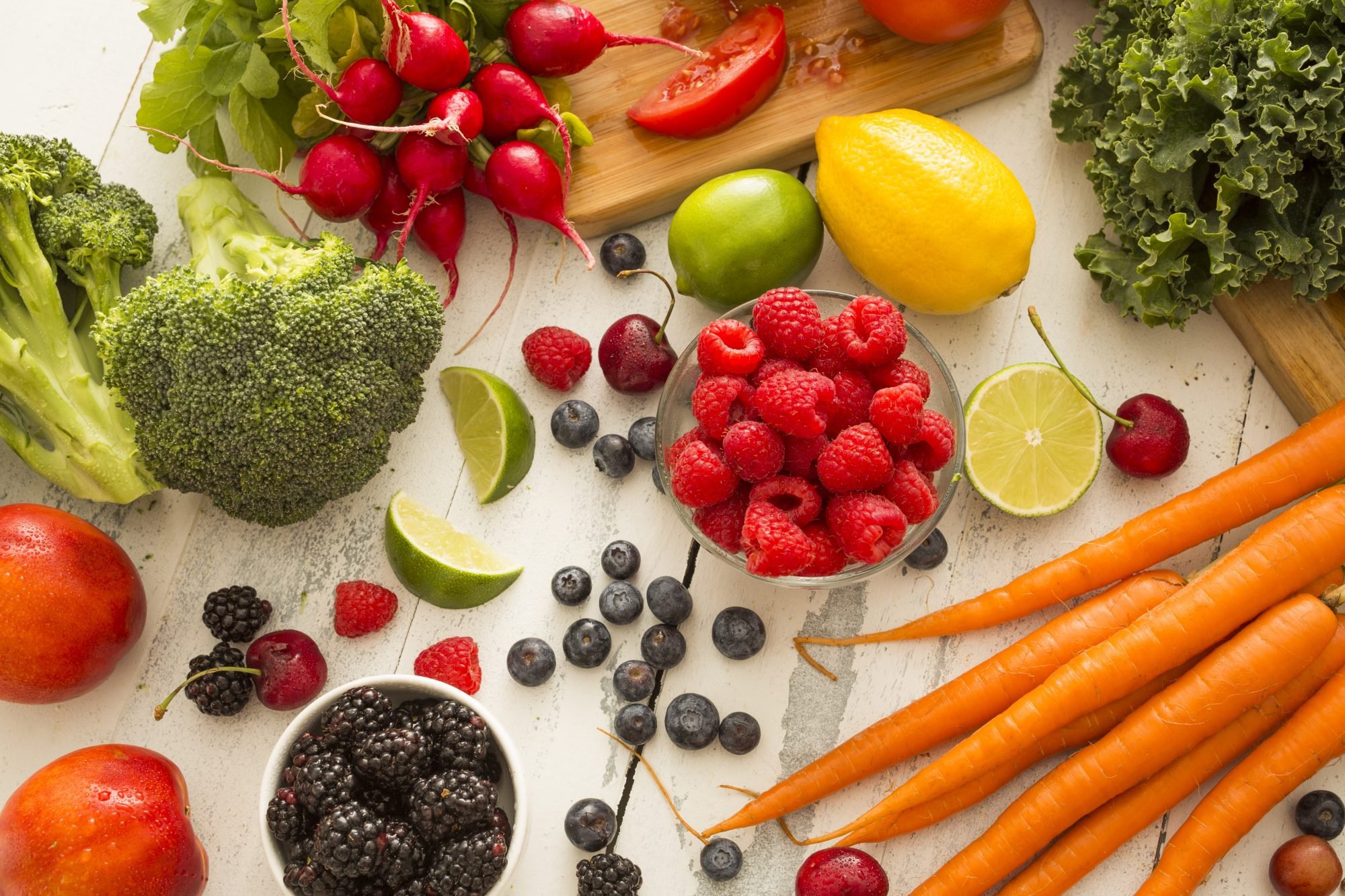 Healthy Fruits and Vegetables on Cutting Board