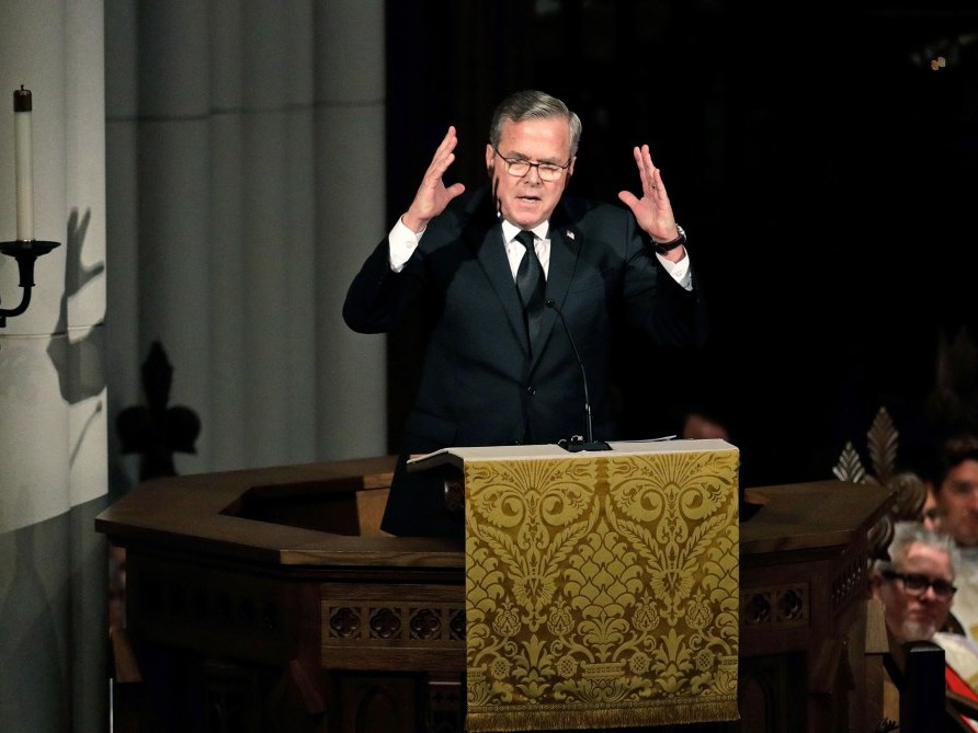 Jeb Bush Shares Old Love Letter from George H.W. Bush to Barbara in Touching Speech at Funeral barbara-j
