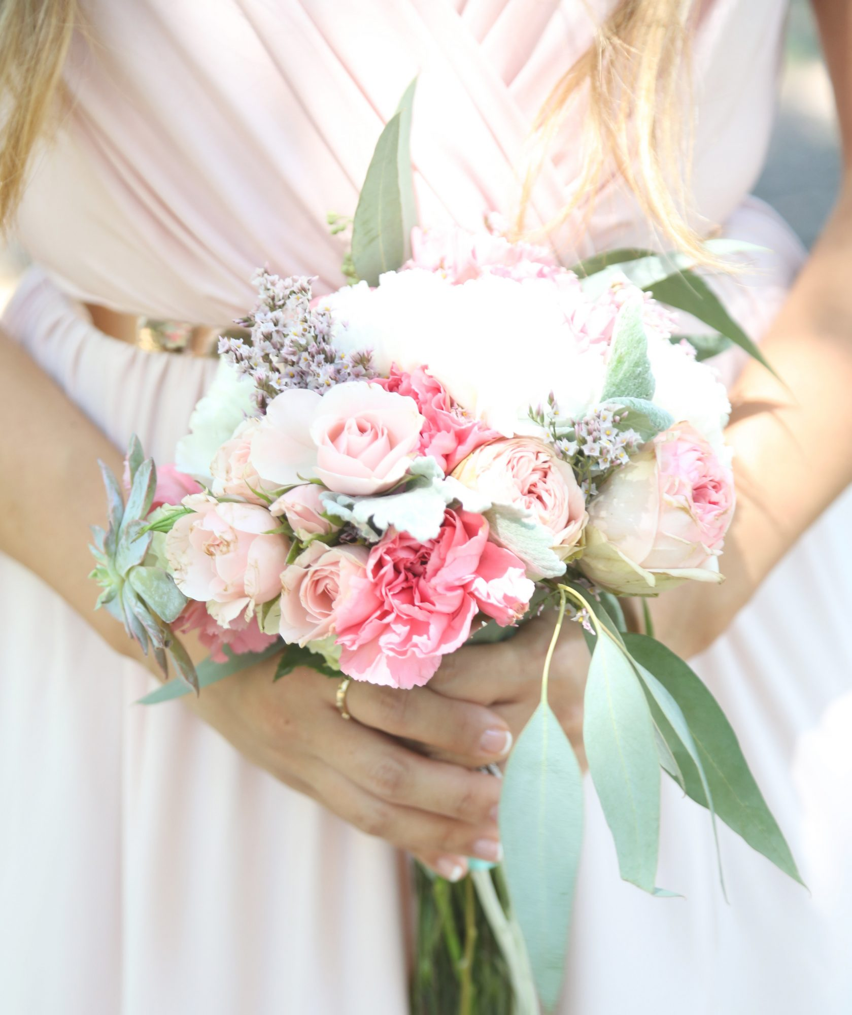 Bridesmaid Holding Flowers Close Up