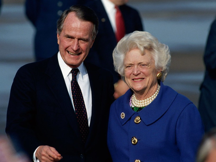 'Heartbroken' George H.W. Bush Leads Nation's Mourning at Funeral of Former First Lady Barbara Bush george-h-w-bush-barbara