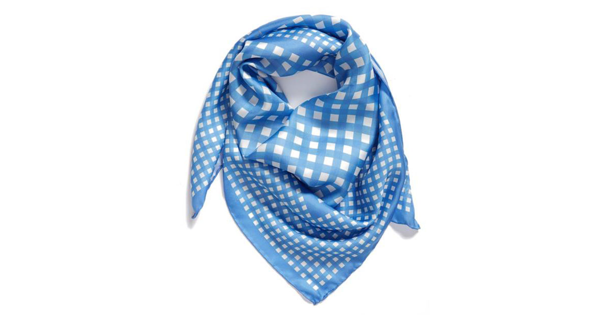 Kate Spade New York Gingham Square Silk Scarf