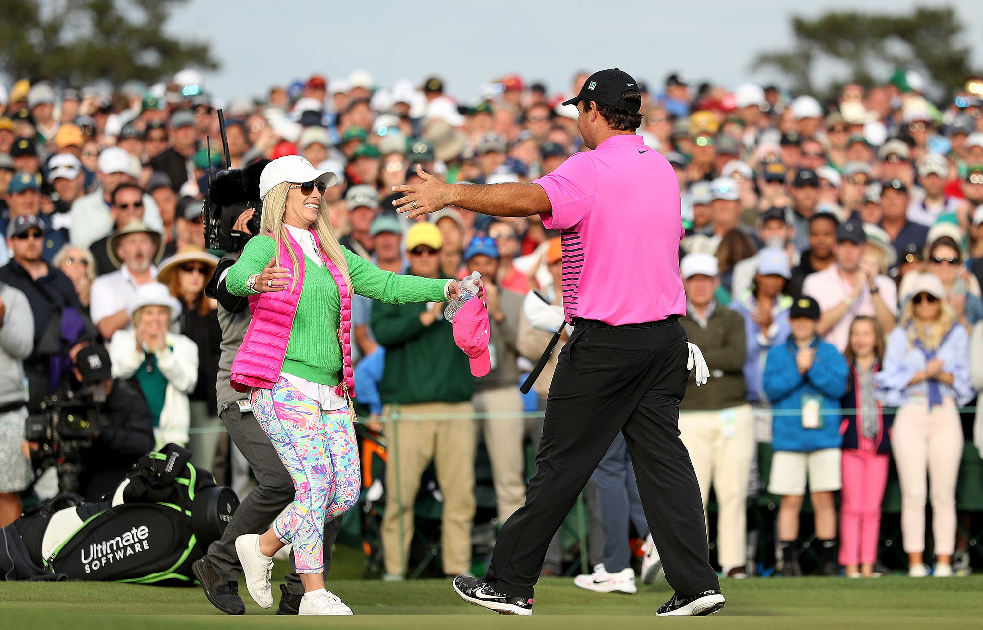 Patrick Reed May Have Won the Masters, But Wife Justine's Lilly Pulitzer Leggings Won the Day lilly-pulitzer-masters-style