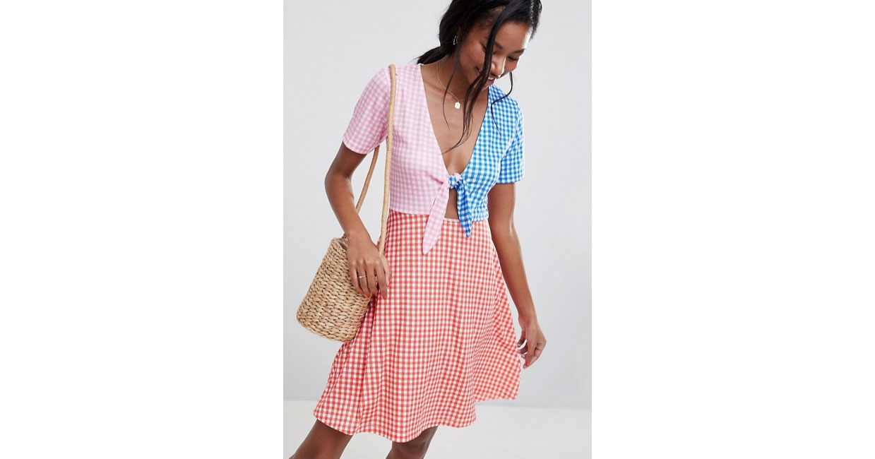 Mini Skater Sundress with Tie Front in Color-block Gingham