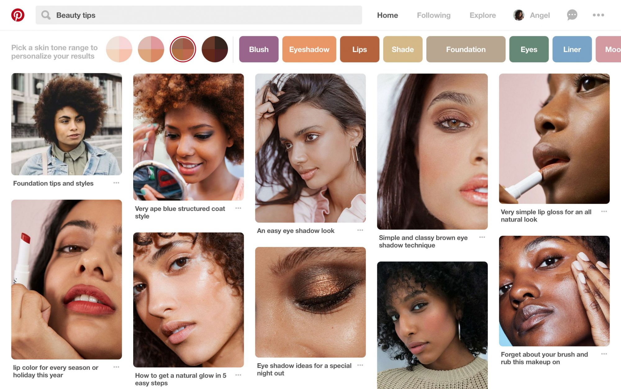 Pinterest Skin Tone Feature