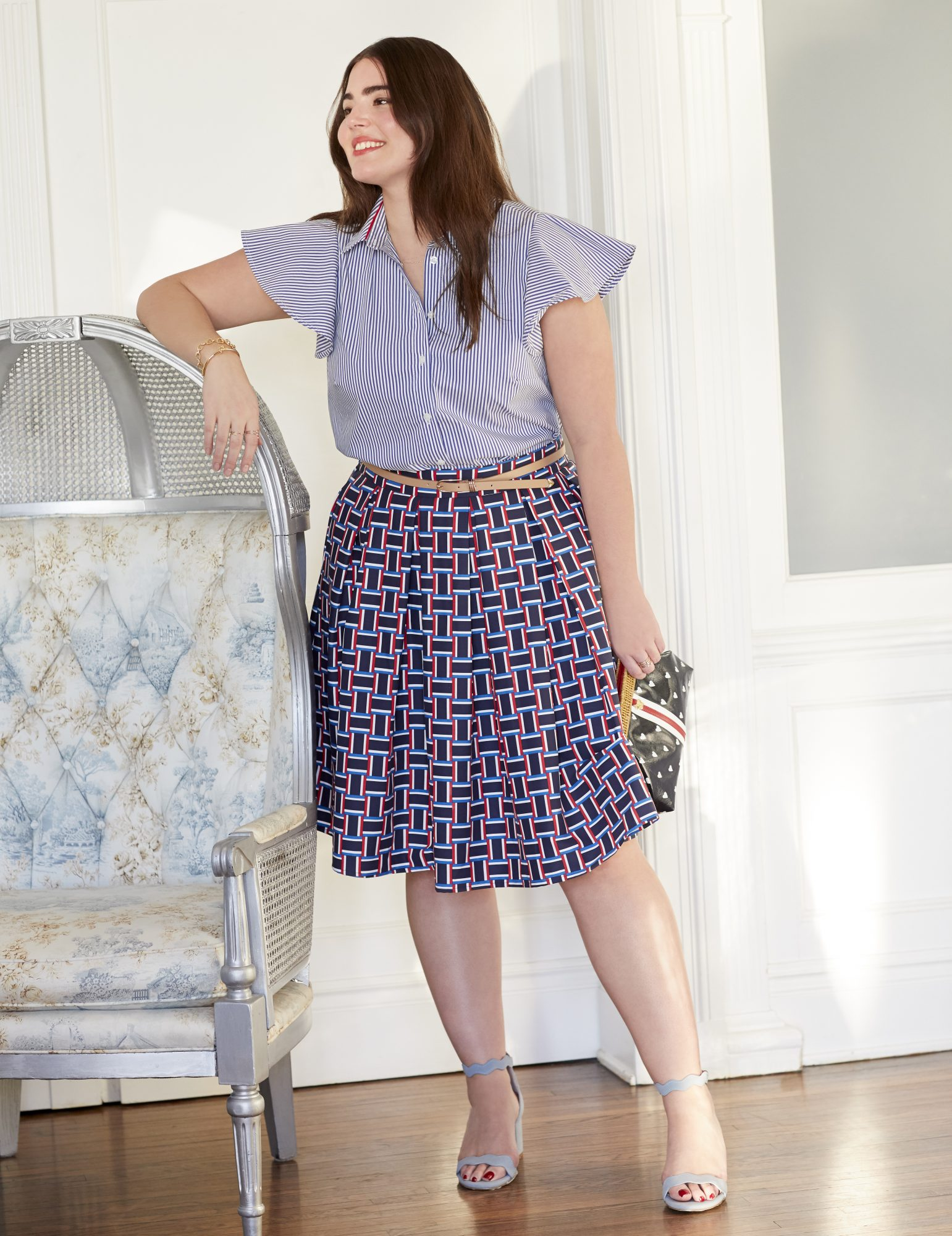 Button Down Flutter Sleeve Top and Pleated Midi Skirt