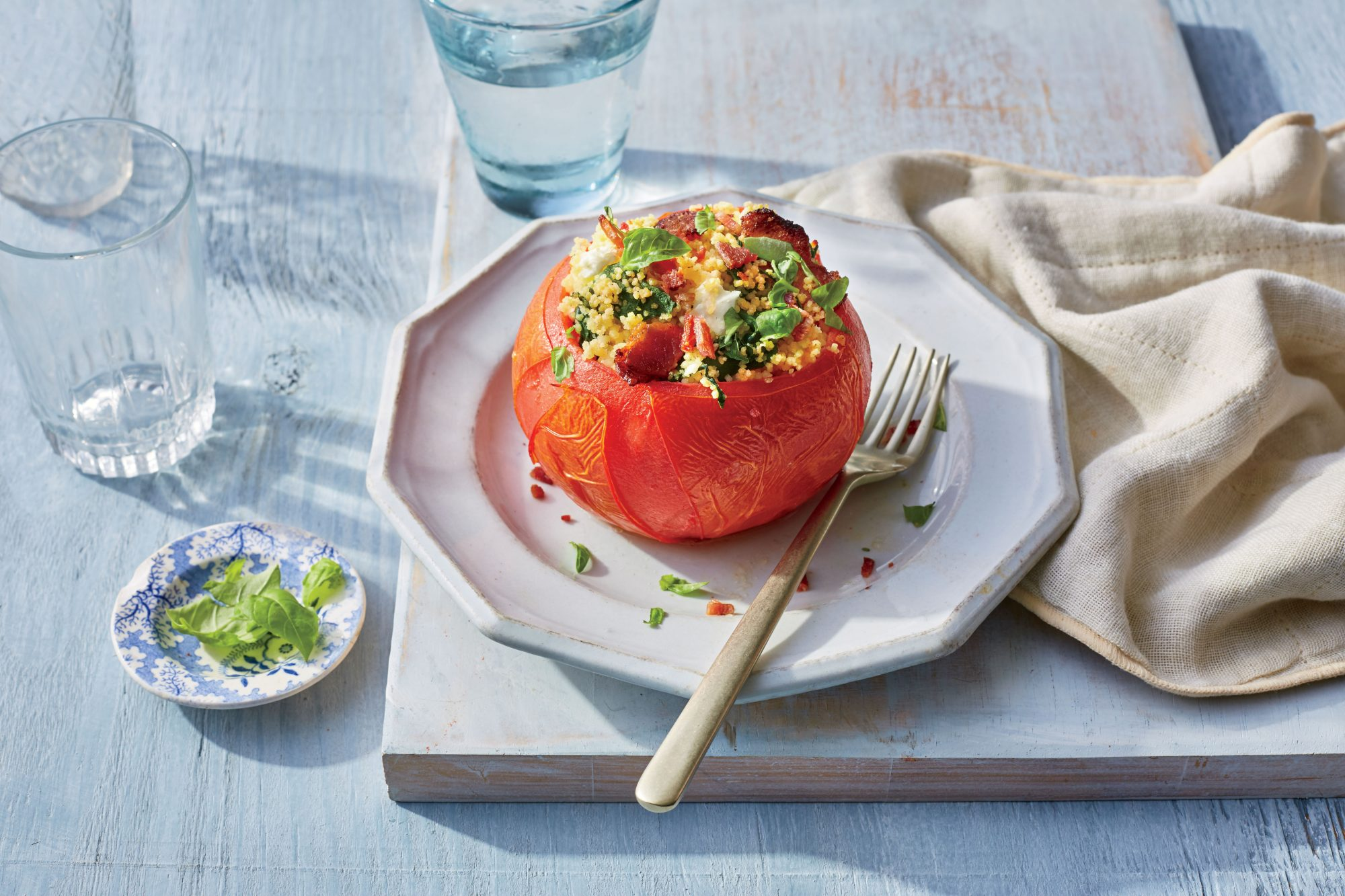Bacon-Spinach-and-Couscous Stuffed Tomatoes Recipe