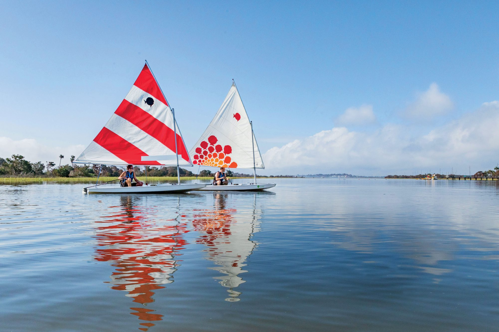 Sailboats at the Rainbow Island Outdoor Recreation Center, Sea Island, GA