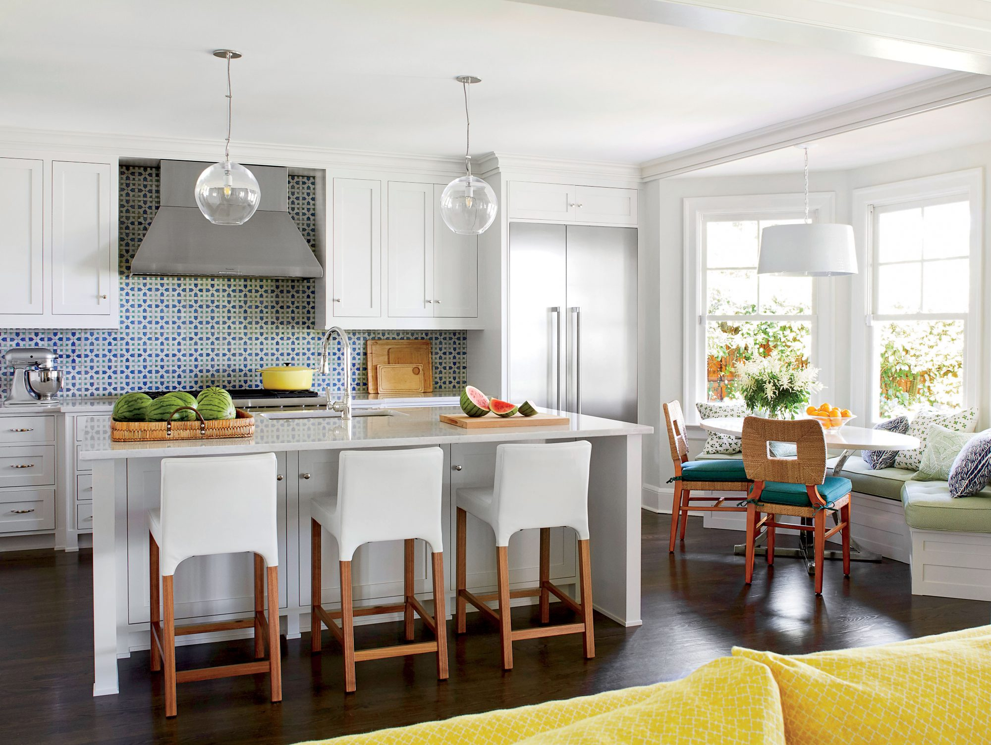 Andrew Howard Colorful Home with Green, Blue, and White Kitchen