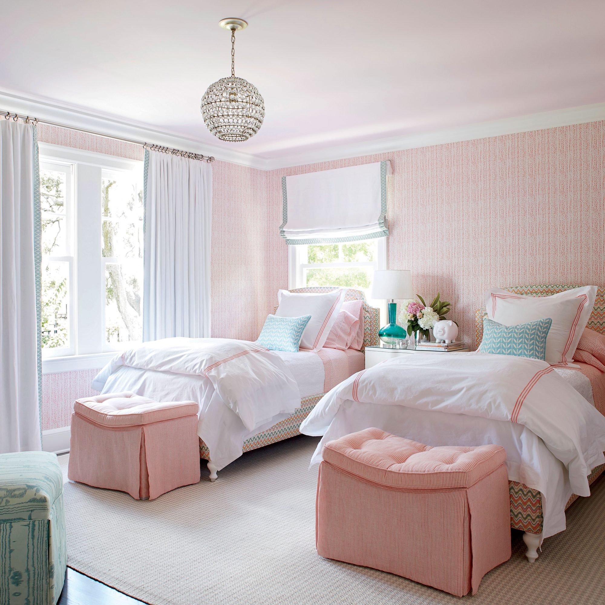 Andrew Howard Colorful Makover Pink and Mint Girl's Bedroom