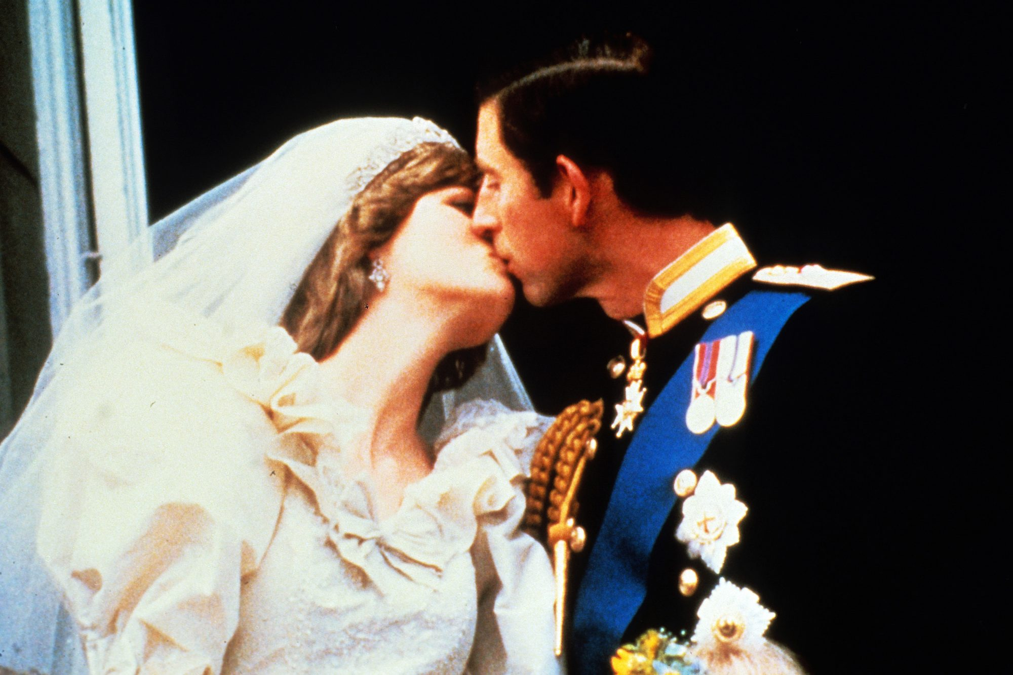 Charles and Diana Balcony Wedding Kiss