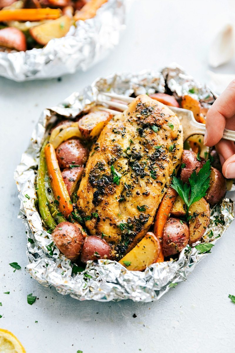 Foil Pack Italian Chicken and Veggies
