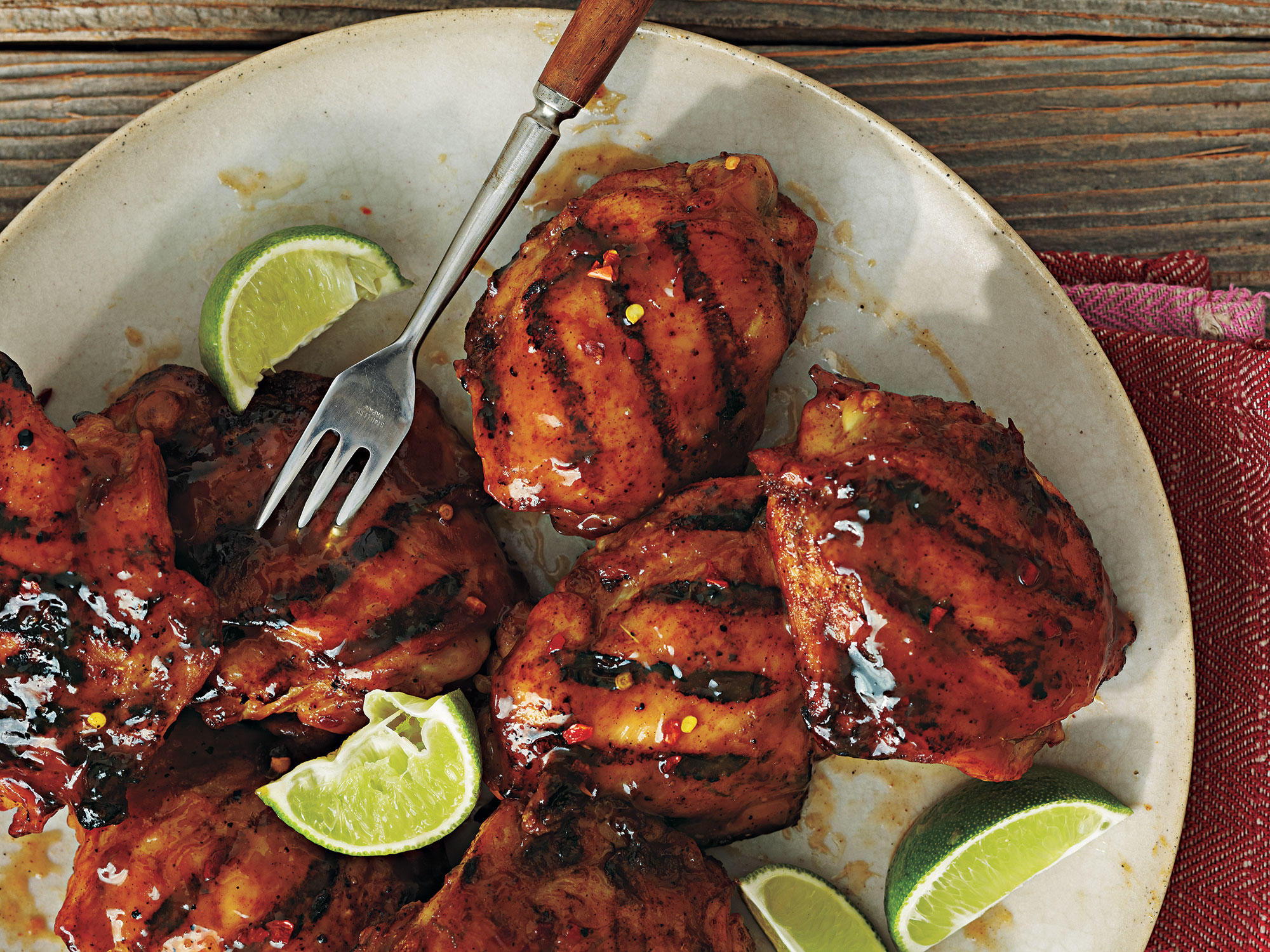 tequila glazed grilled chicken thighs