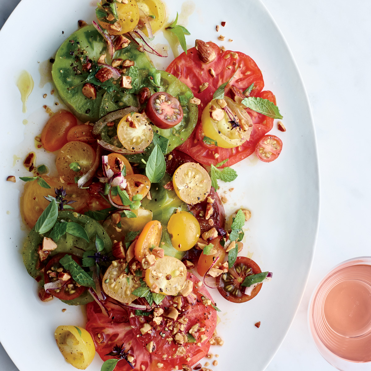 Tomatoes with Herbs and Almond Vinaigrette
