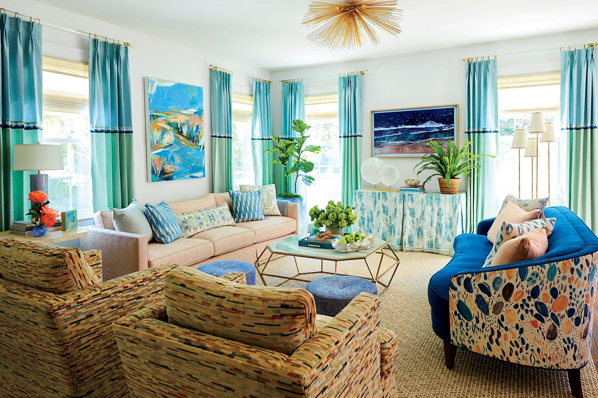 Lindsey Cheek Wilmington, NC Home Living Room with Pink, Teal, and Blue Details