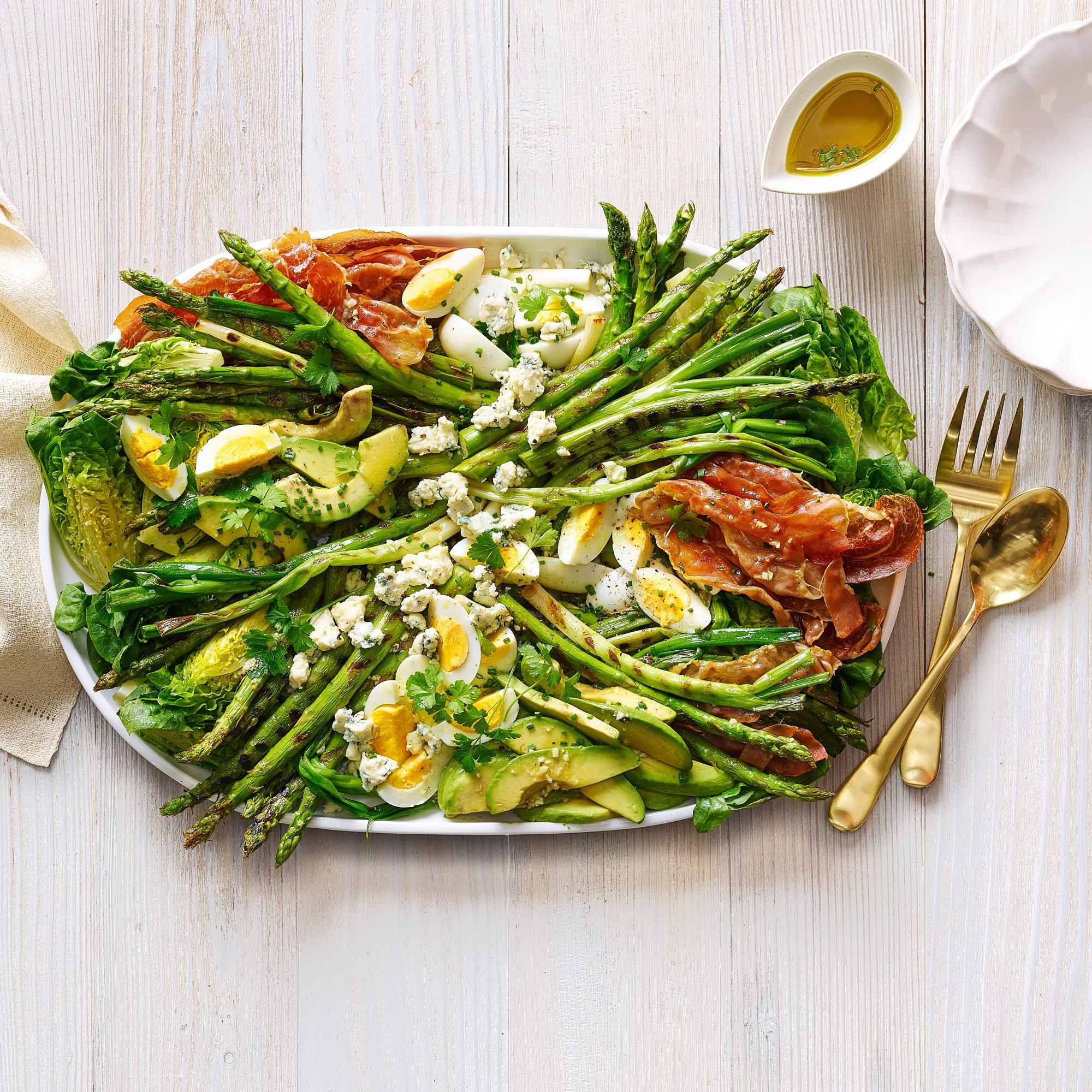 Grilled Asparagus and Prosciutto Cobb Salad