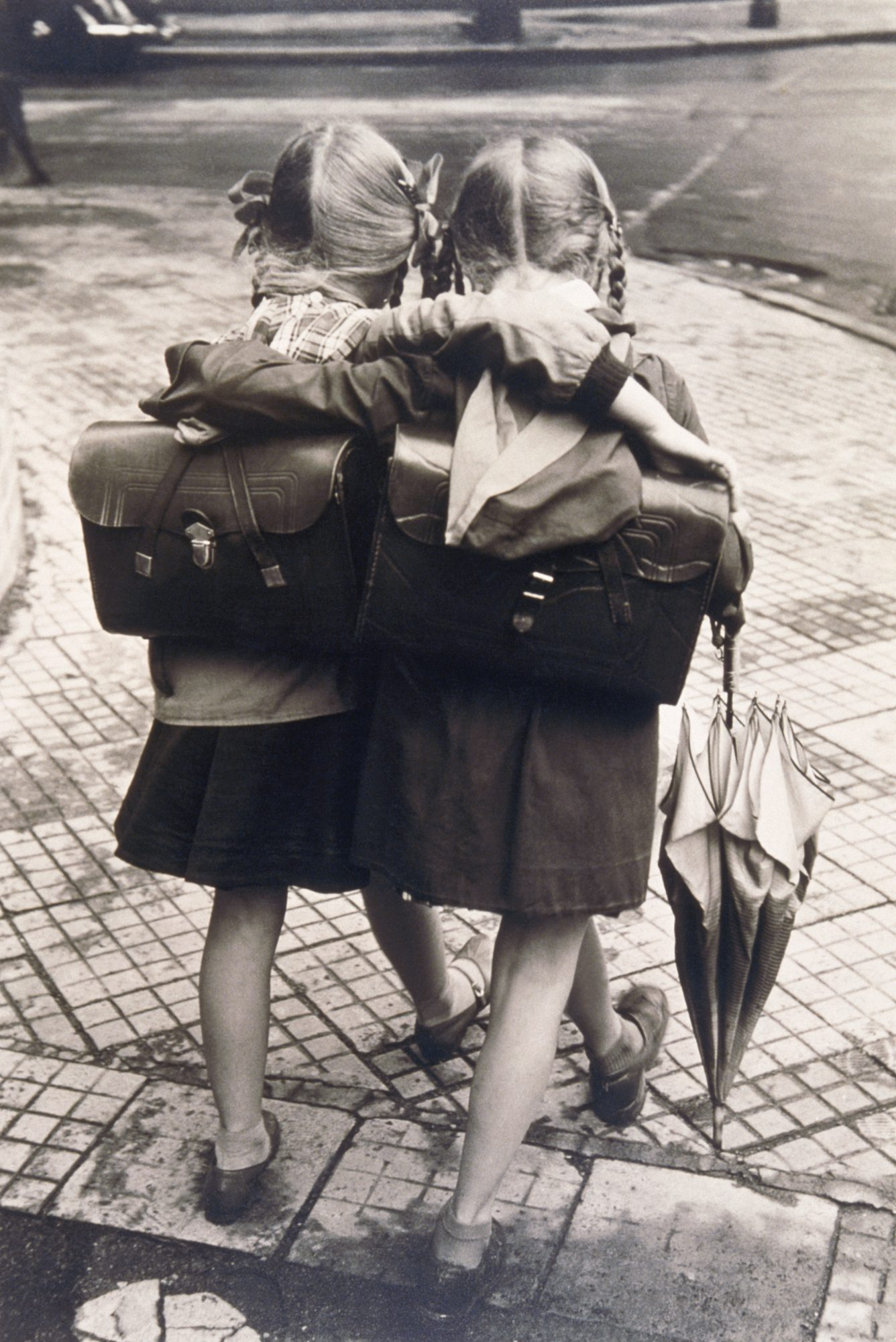 Schoolgirls Walking and Hugging