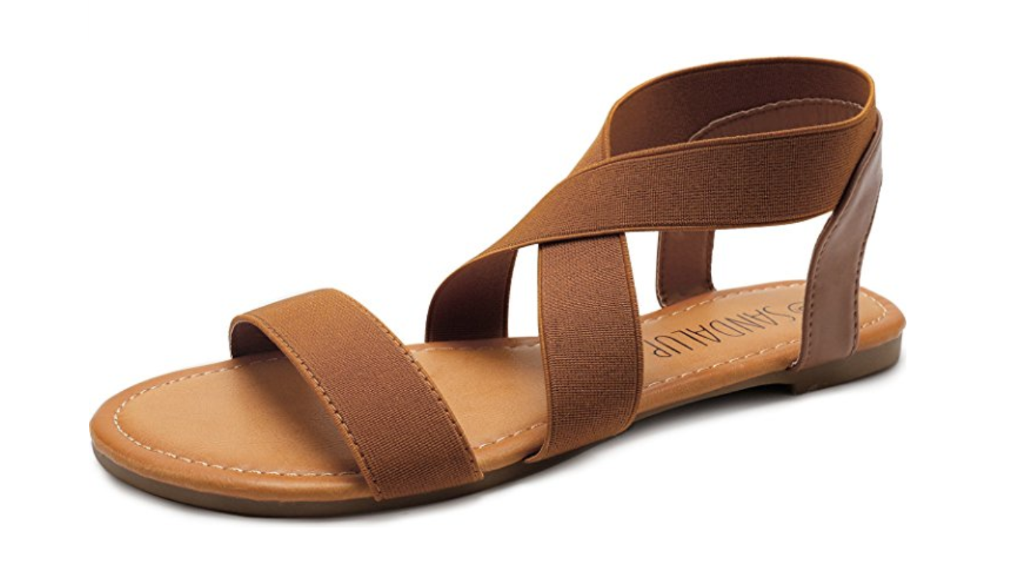 Brown Elastic Strappy Sandals