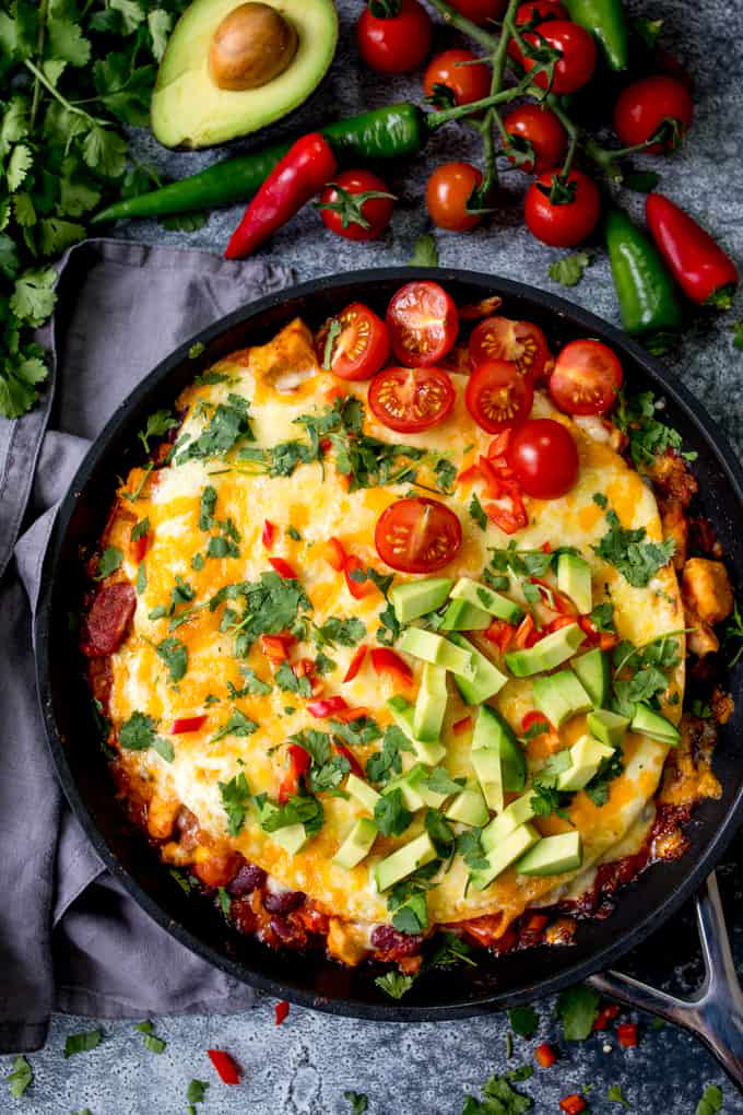 Chicken Enchilada Skillet Lasagna with Chorizo