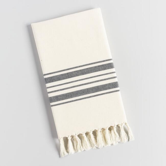 Striped Kitchen Towel with Tassels