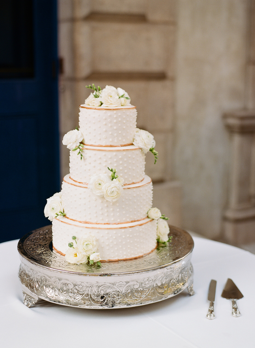 Classic White Wedding Cake with Polka Dots