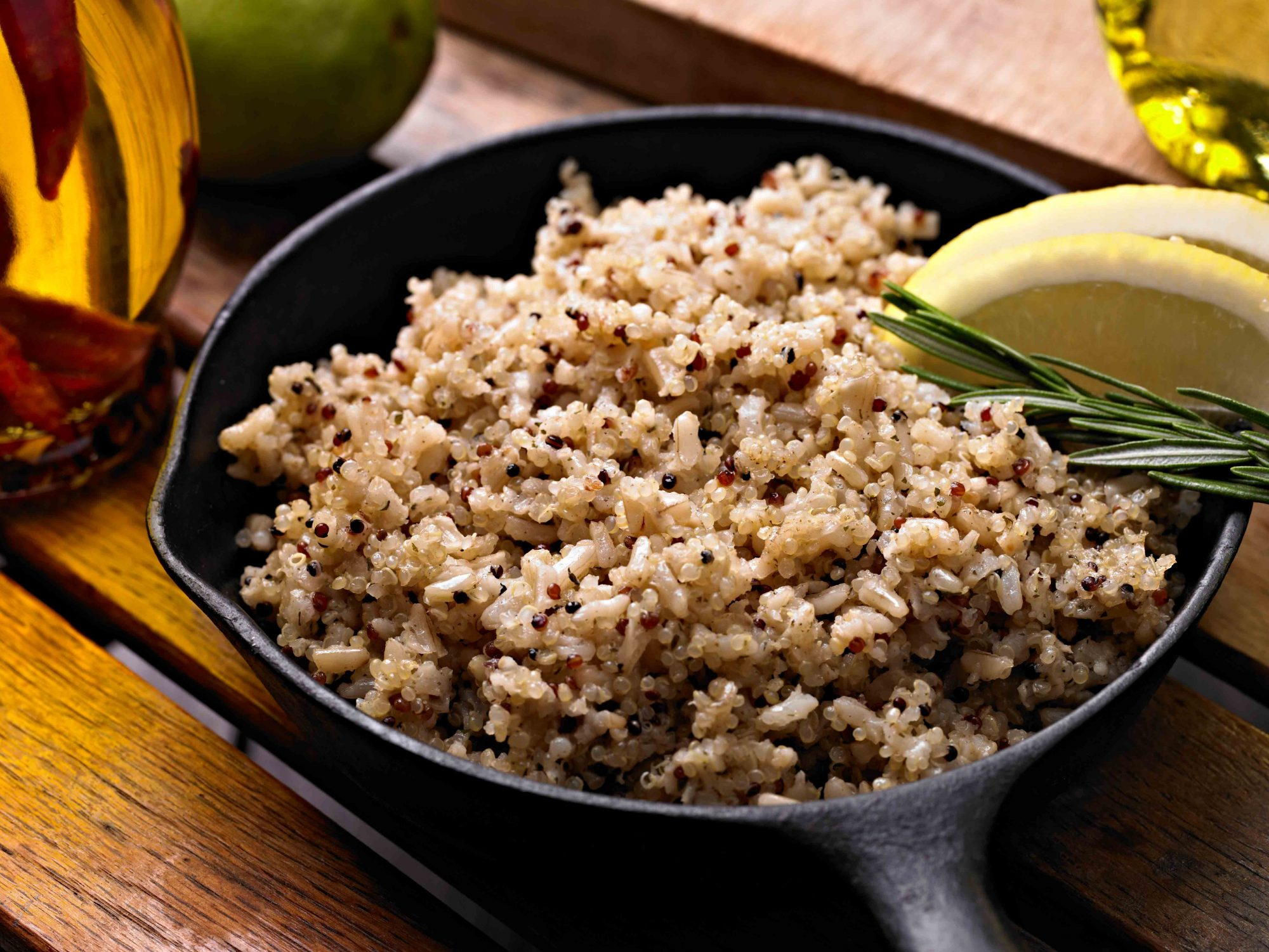 brown rice cooking in a pan