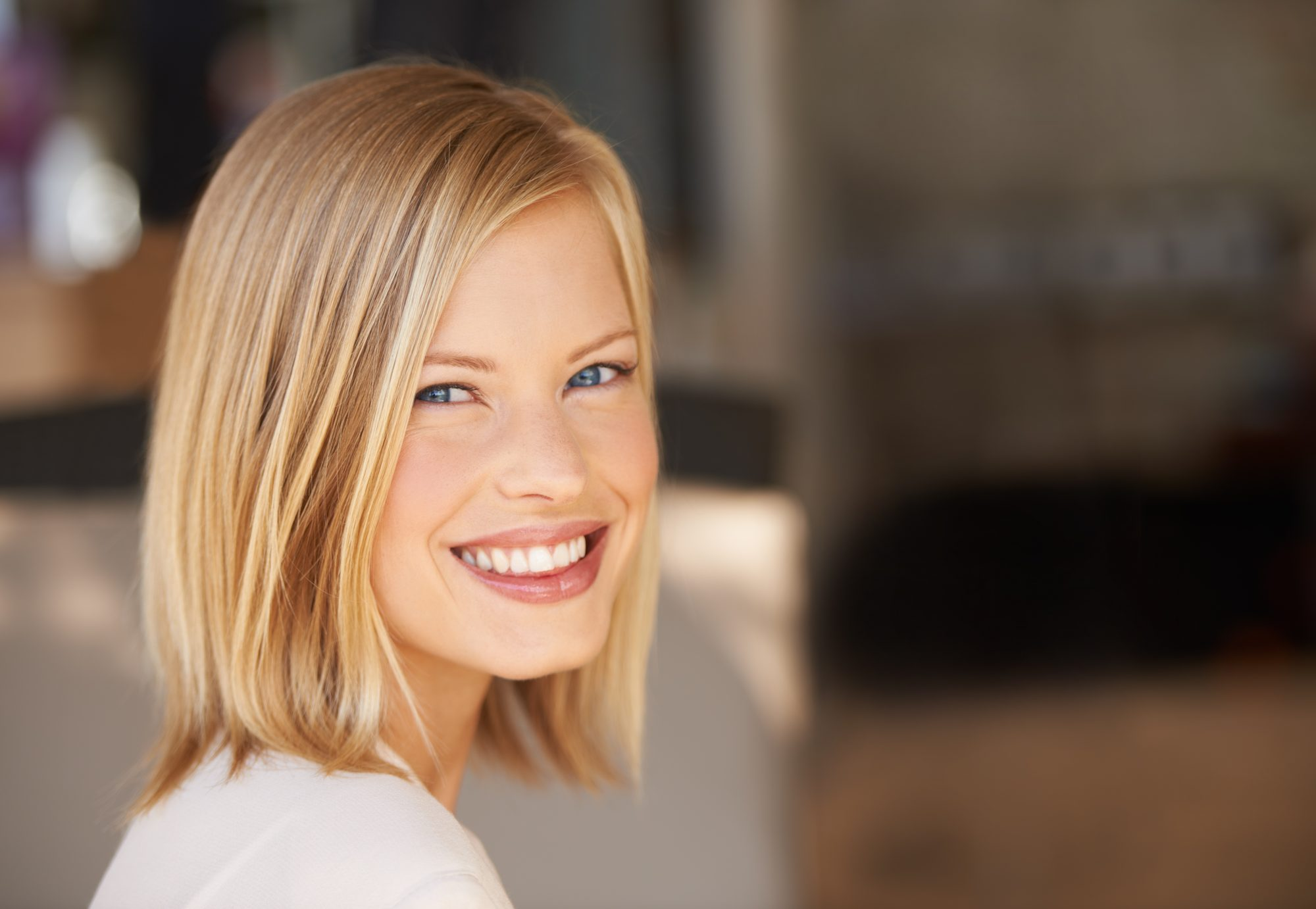 Blonde Woman with Lob Haircut