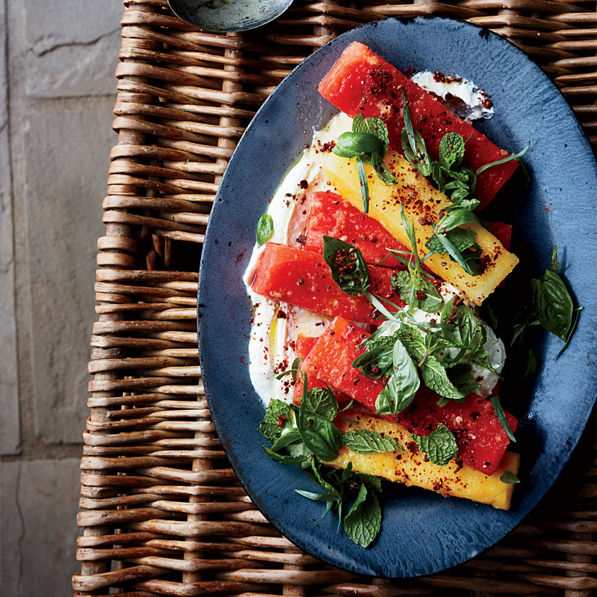 Watermelon and Tomato Salad with Spicy Feta Sauce