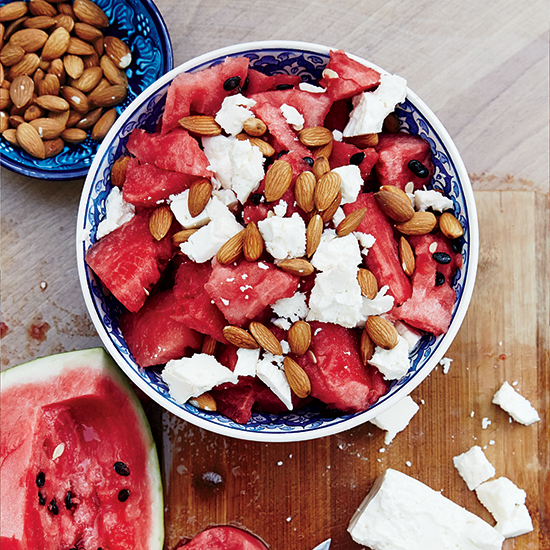 Caramelized Watermelon Salad with Pickled Jalapeños and Gorgonzola