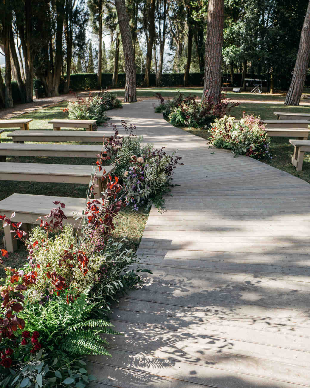 sara sam italy wedding ceremony seating aisle