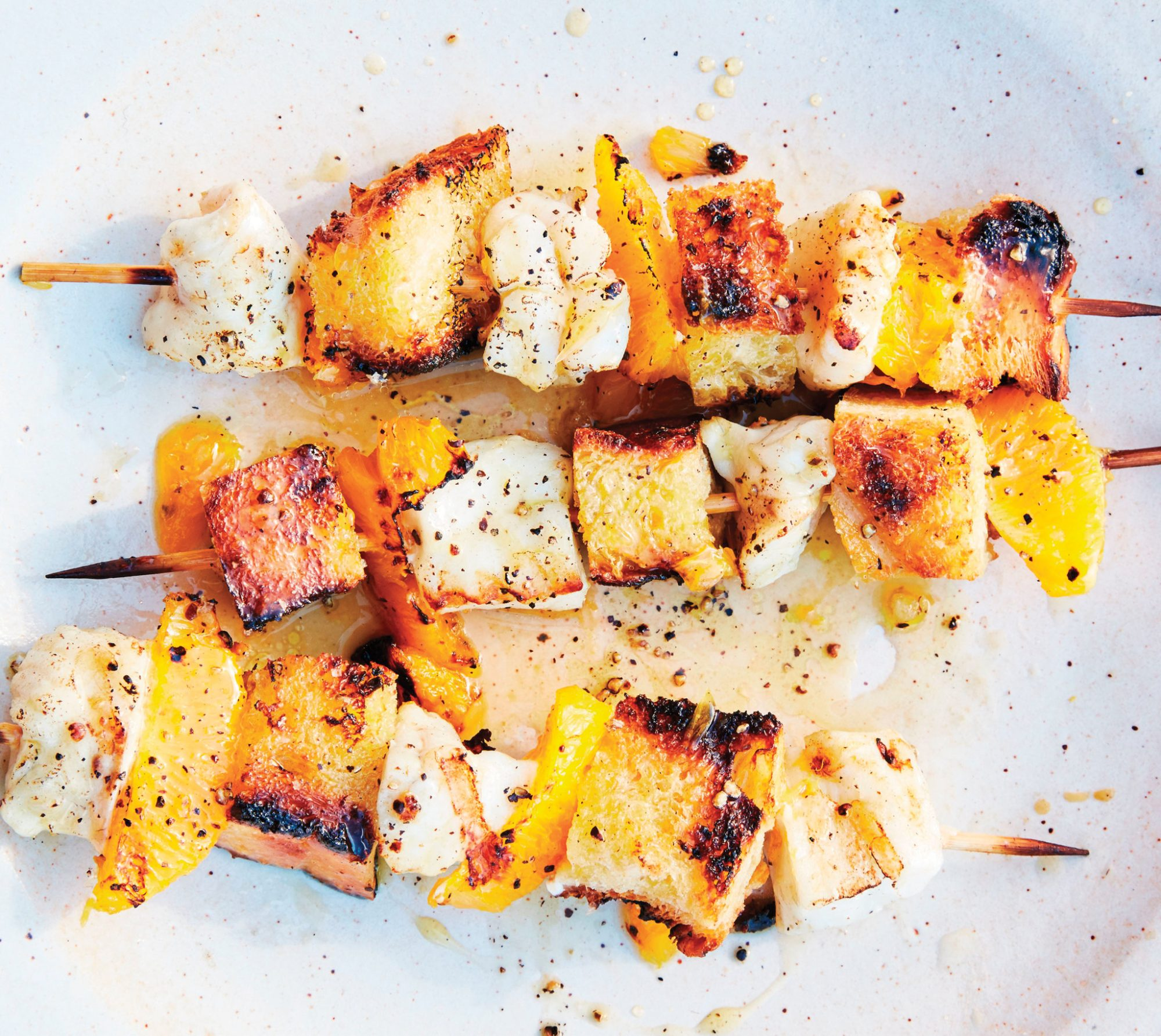 Seafood Skewers with Croutons and Orange