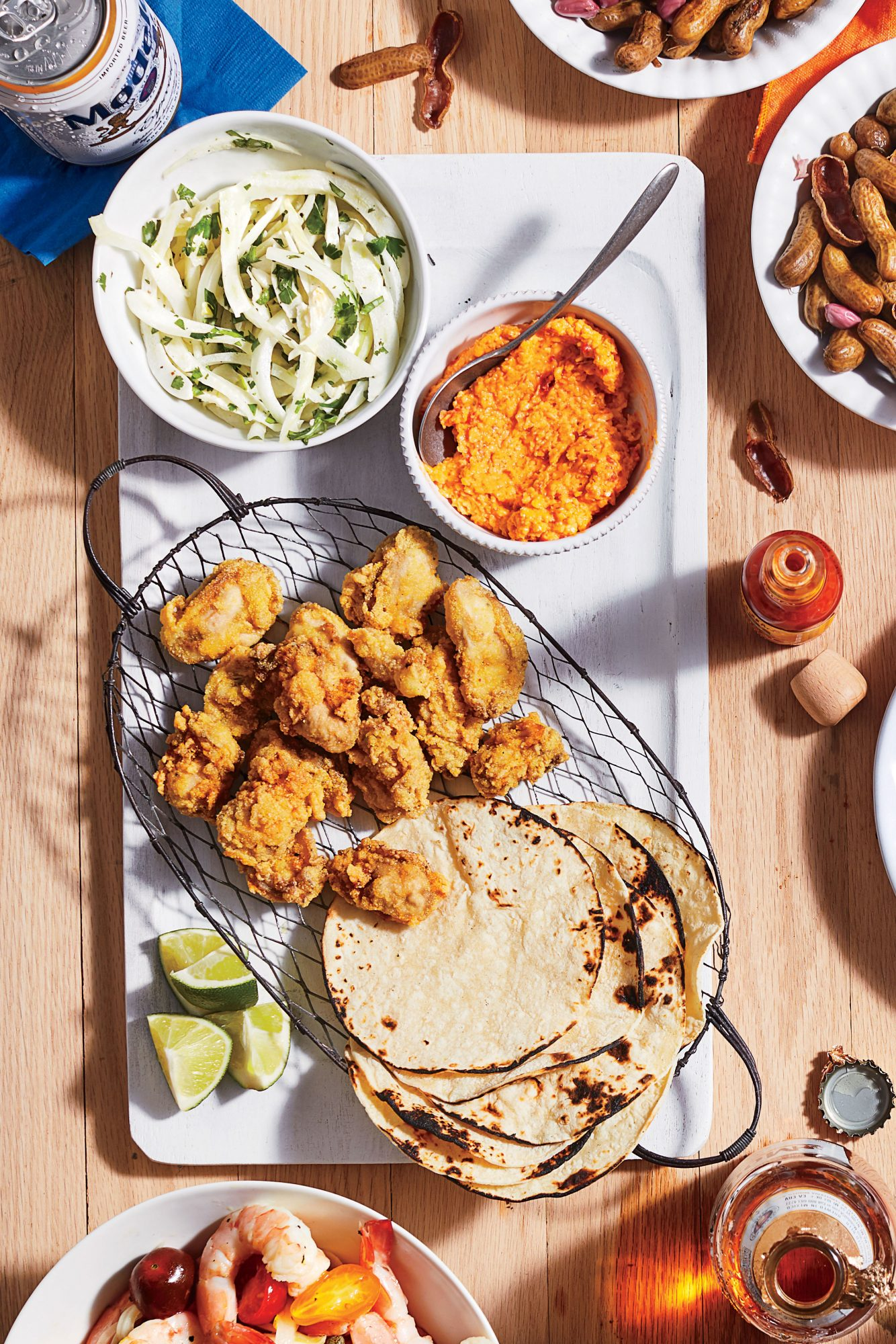 Mini Tacos with Fried Oysters, Pimiento Cheese, and Fennel Slaw