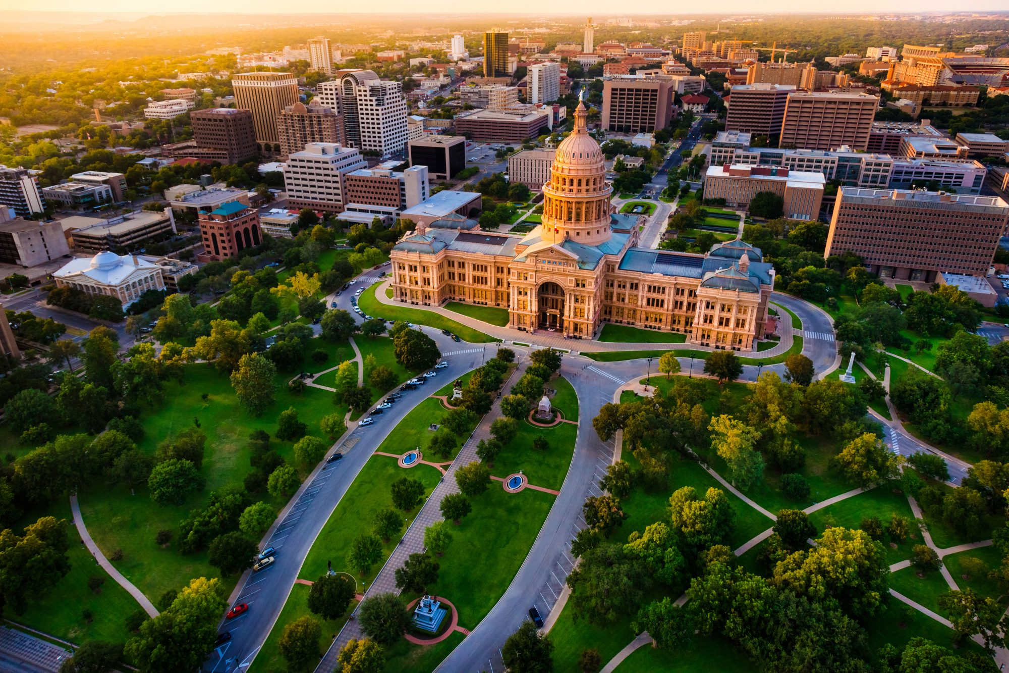 Aerial View of Capitol Building Austin, TX