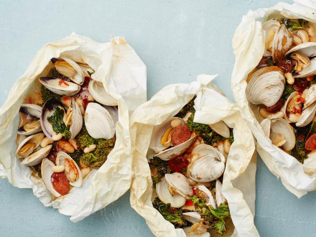 Clam, Chorizo, and Kale Parchment Pack