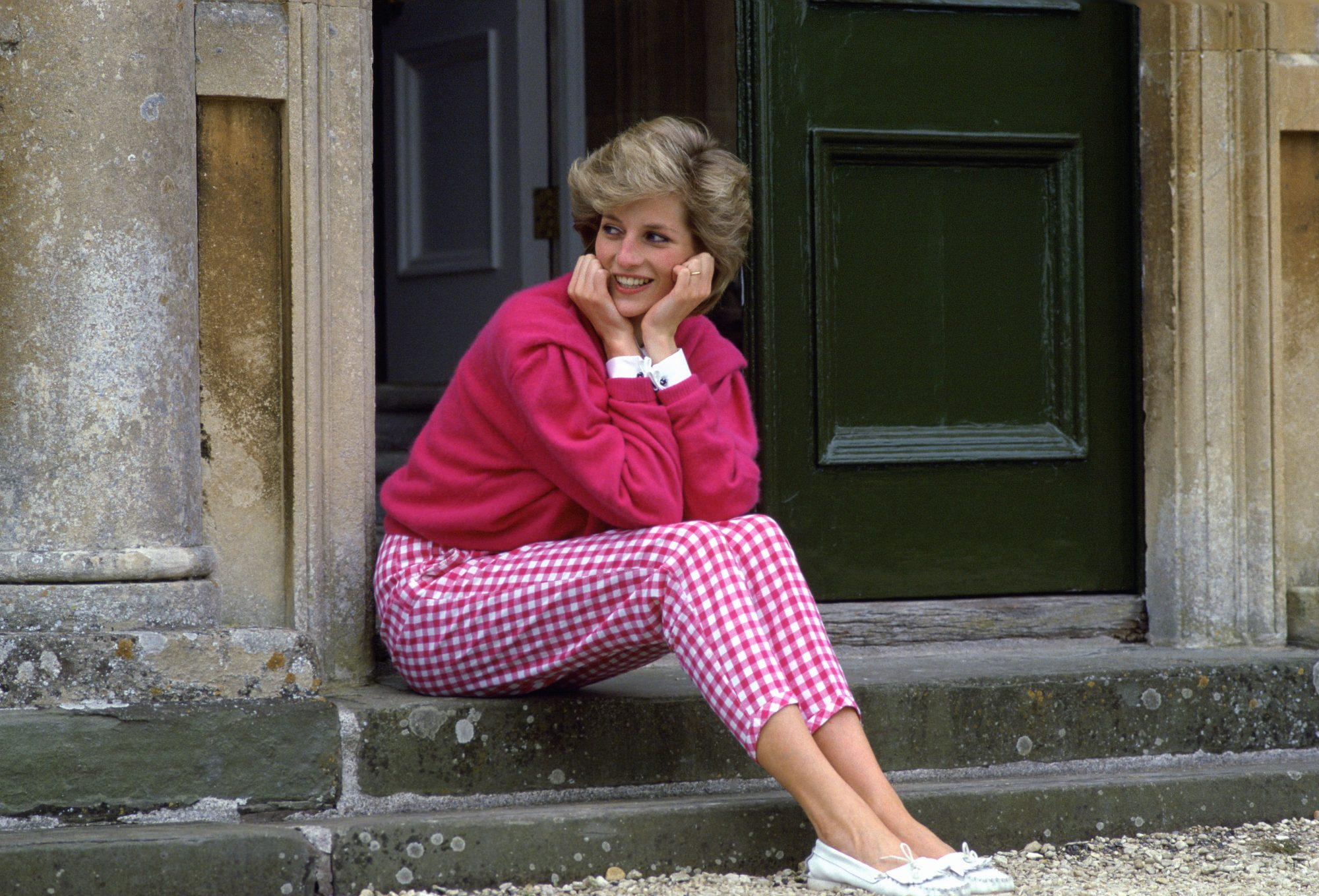 Princess Diana in Pink Gingham Pants