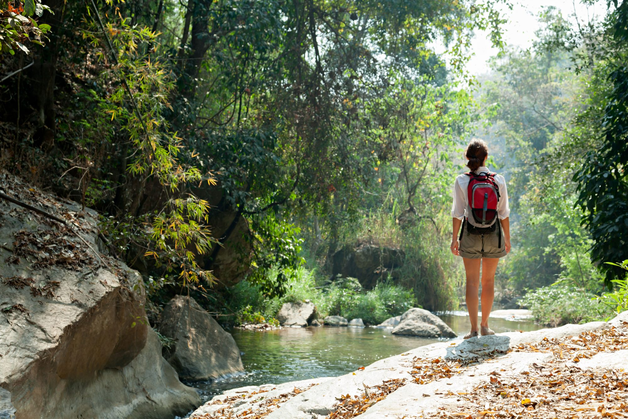 Woman Hiking Alone Near Stream