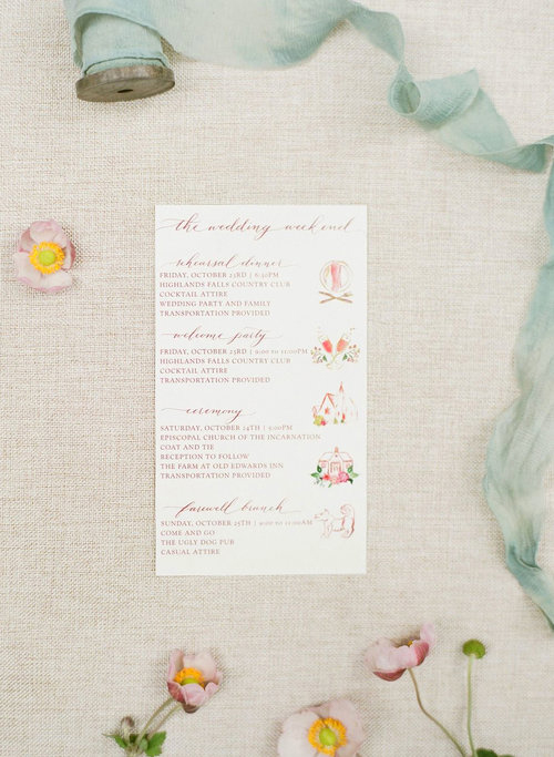 Illustrated Wedding Guest Itinerary
