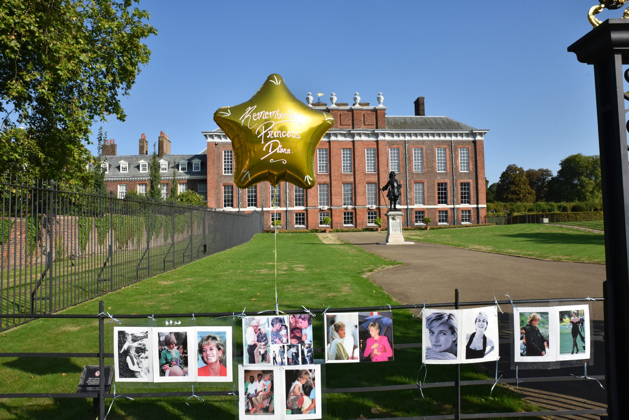 Balloons and Flowers at Kensington Palace Gates for Diana