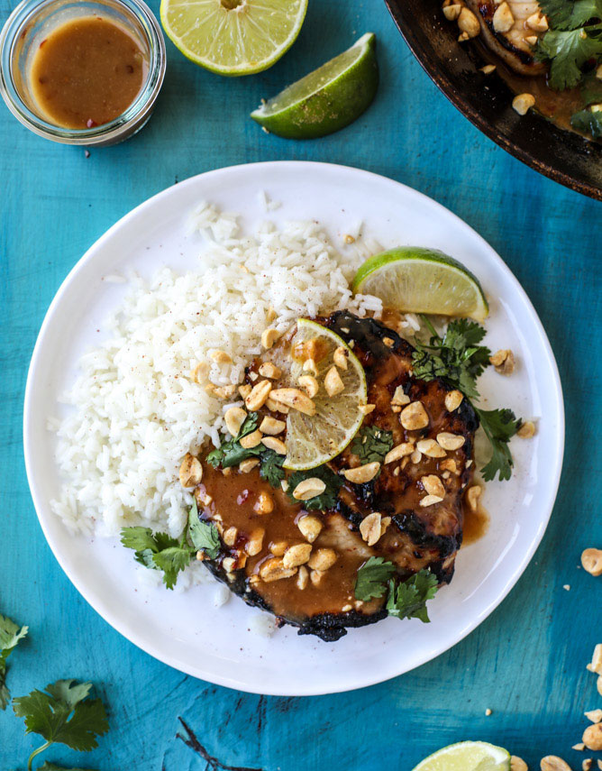 Thai Skillet Pork Chops with Coconut Rice