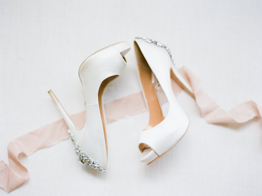 White Bridal Shoes with Bling Heel